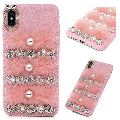 iPhone Xs Max Case, MOLLYCOOCLE Winter Fashion Pink Bling Rhinestone Fluff Pearl Design for Women Grils Furry Case for iPhone Xs Max (6.5 inches)