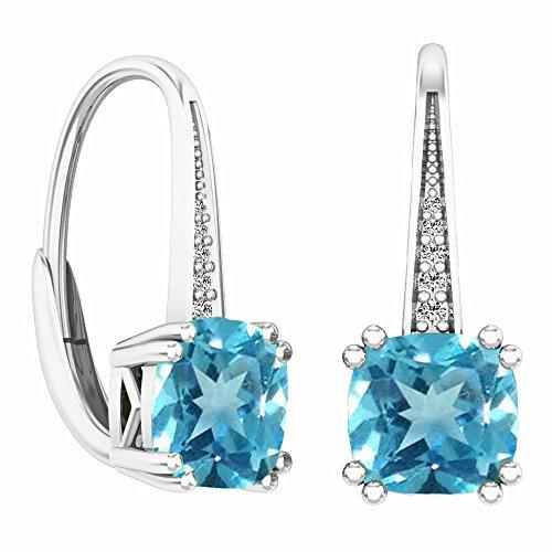 14K White Gold Cushion Cut Blue Topaz & Round Cut White Diamond Ladies Dangling Drop Earrings