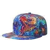 Blinglove Men's Flat Bill Hats Dragon 3D Print Hat Adjustable Snapback Hats Hip Hop Cap