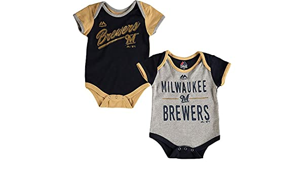 Majestic Milwaukee Brewers Baby//Infant 2 Piece Creeper Set