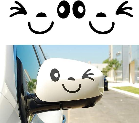 Muchkey Nettes Lächeln Gesicht 3d Aufkleber Aufkleber Für Auto Auto Seitenspiegel L R Rearview Netter Wandaufkleber Auto