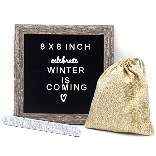 Black Changeable Felt Letter Board 8x8 inches, Muga Changeable Wooden Message Board Sign Include 183 Letters, Numbers & Symbols with Free Canvas Bag & MDF Frame, Perfect Gifts