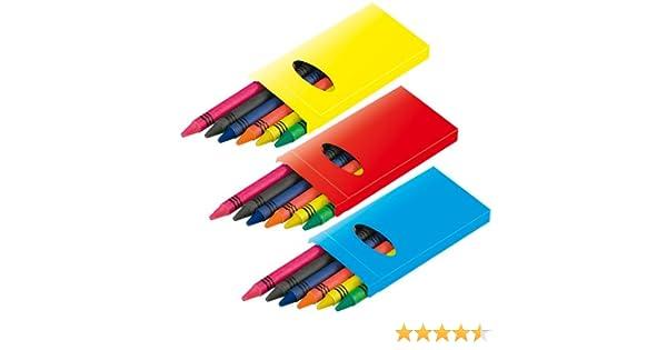 DISOK Lote de 50 Cajas con 6 Ceras para Colorear. Ceras para Niños, Ideales para Colorear y Pintar. Ceras, Regalar, para Fiestas de Cumpleaños, ...