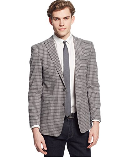 Andrew Marc Gray Plaids & Checks Two Button Cotton New Men's Sport Coat (42 Regular) (Cotton Plaid Blazer)