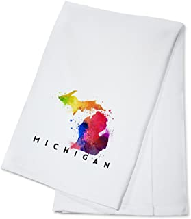 product image for Michigan - State Abstract Watercolor (100% Cotton Kitchen Towel)