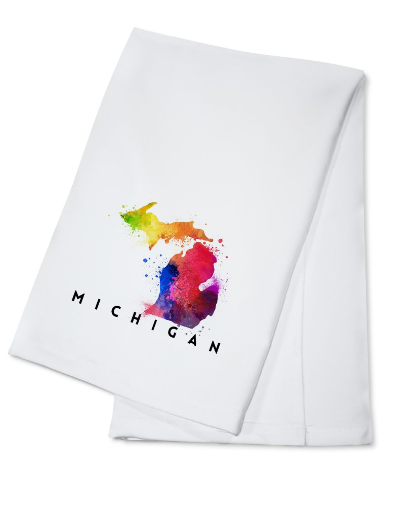 Michigan - State Abstract Watercolor (100% Cotton Kitchen Towel) by Lantern Press