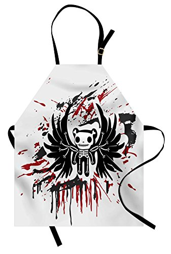 Ambesonne Halloween Apron, Teddy Bones with Skull Face and Wings Dead Humor Funny Comic Terror Design, Unisex Kitchen Bib Apron with Adjustable Neck for Cooking Baking Gardening, Pearl Black Ruby