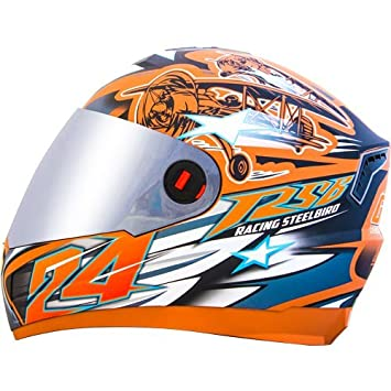c74fc810 Steelbird Men's ISI Certified Bargy Design Graphics Helmet - Hovering  Glossy Finish with Silver Visor +