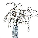Handmade Artificial Felt Flower Cherry Blossom Stems, Pink and White