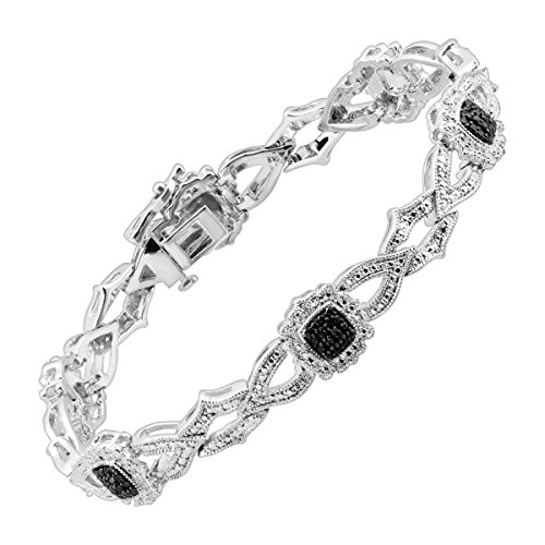 Interlocking Station TennisBracelet with Black & White Diamonds in Sterling Silver-Plated Brass