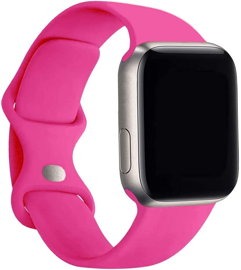 Yogem Silicone Band Compatible for Apple Watch 38mm 42mm 40mm 44mm series 1,2,3,4,5,6,SE (42mm/44mm S/M, Barbie pink)