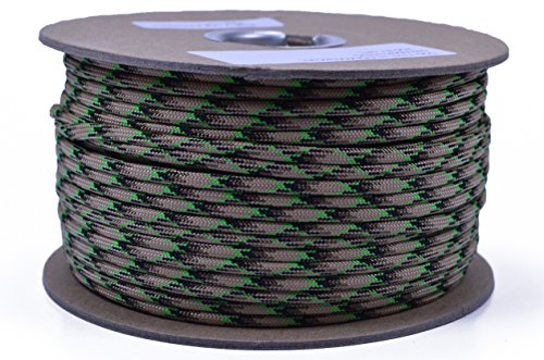 (Bored Paracord - 1', 10', 25', 50', 100' Hanks & 250', 1000' Spools of Parachute 550 Cord Type III 7 Strand Paracord Well Over 300 Colors - Swamp Thing - 250 Foot Spool)