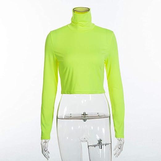 ZODOF Camisas Mujer Casual, Camiseta de Cuello Alto de Solapa Casual para Mujer Camisetas de Manga Larga de Blusa de Hebilla Ropa: Amazon.es: Ropa y ...