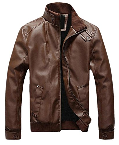 Generic Men's Vintage Stand Collar Thick Leather Jackets Brown L
