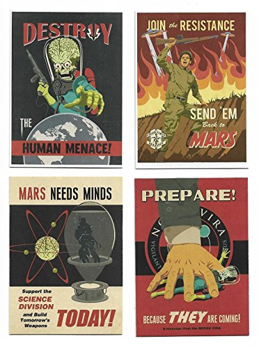 2013 Topps MARS ATTACKS Invasion Join the Fight: Propaganda Poster Cards Set 1-4