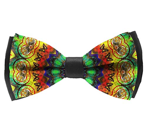L Wright-King Mens Kaleidoscope Dye Tie Weed Mandala Pre-Tied Bowtie Silk Bow Ties for Men Gifts