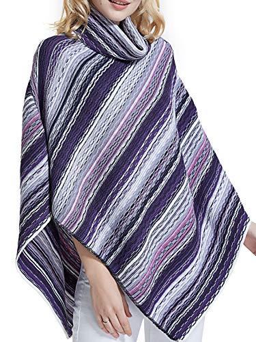 Spicy Sandia Ponchos for Women Stripe Turtleneck Poncho Pullover, Purple ()