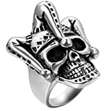 Image of Flongo Men's Punk Stainless Steel Silver Black Gothic Joker Clown Band Ring, Size 7