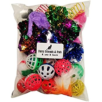 30 PIECE CAT TOY VARIETY PACK CRINKLE BALLS MICE SPRINGS BELL BALLS