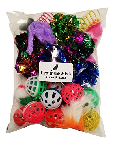 30 PIECE CAT TOY VARIETY PACK CRINKLE BALLS MICE SPRINGS BELL BALLS Friends Cat Toy