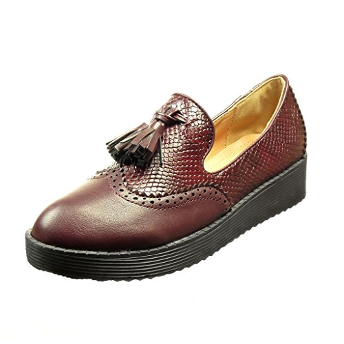 Angkorly - Chaussure Mode Mocassin slip-on femme peau de serpent frange pom-pom Talon plat 2.5 CM - Bordeaux