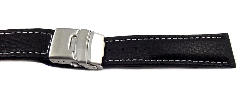 85e81c6f247c 22 mm Reloj de pulsera Negro con Blanco kontrasnaht piel Acero ...