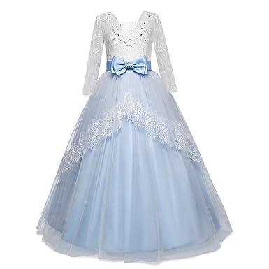 LEvifun Vestito Principessa per Ragazza Elegante Floreale Fiore Pizzo Abiti  da Sera Matrimonio Tulle Lungo Arco Festa Comunione Cerimonia Compleanno ... 5a372b1a3d8