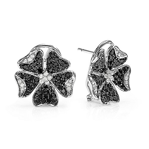 1.25 Carat (ctw) 14k White Gold Black & White Round Diamond Ladies Flower Stud Earrings 1 1/4 CT by DazzlingRock Collection