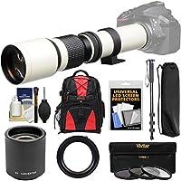 Vivitar 500mm f/8.0 Telephoto Lens (T Mount) (White) with 2x Teleconverter (=1000mm) + Monopod + Backpack + 3 Filters Kit for Nikon D3200, D3300, D5300, D5500, D7100, D7200, D610, D750, D810 Camera