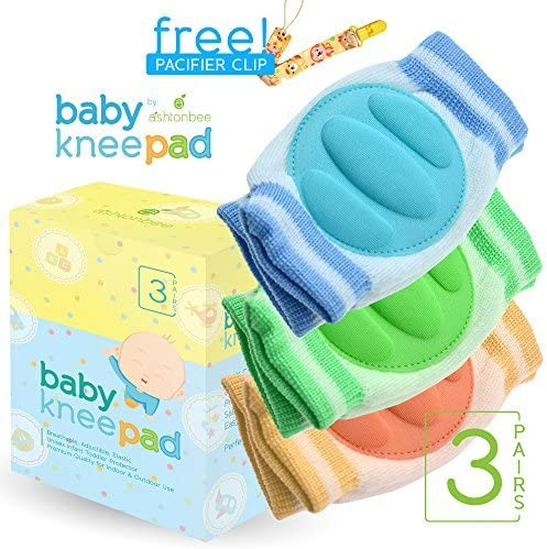 3 Pairs Boys Kids Infants Toddlers Baby Knee Pads for Crawling Girls - Adjustable Breathable Waterproof Safety Protector for Babies