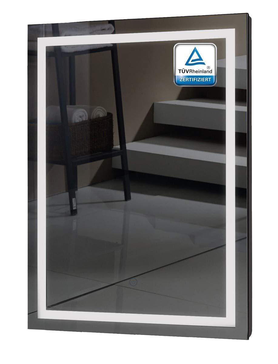 Badezimmerspiegel mit Beleuchtung – ALLDREI AD009 Badspiegel mit LED licht, Touch Schalter – Senkrecht Montage 50x70cm, Weiß Lichtfarbe, Energieklasse A++