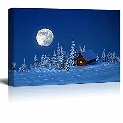 Beautiful Scenery Landscape Wooden House in Winter Forest Under The Bright Full Moon - Canvas Art Wall Art - 16