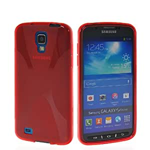 CASEPRADISE X-line Soft Gel TPU Silicone Back Etui Cover Case For Samsung Galaxy s4 Active I9295 Red