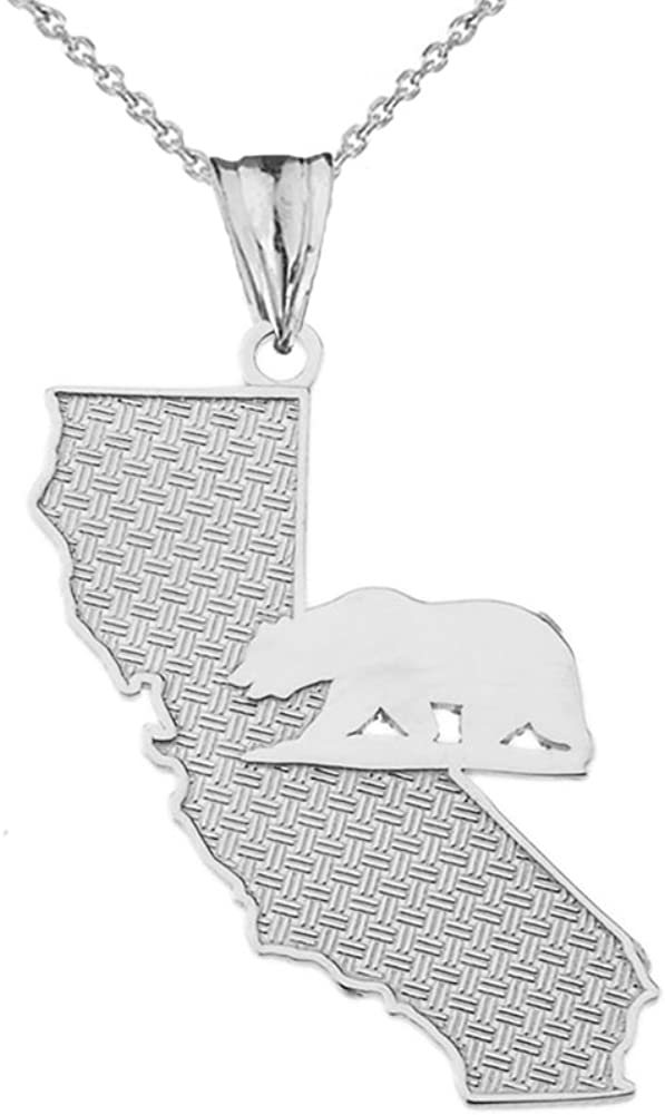 Fine Sterling Silver State Map of California and Grizzly Bear Silhouette Charm Pendant Necklace