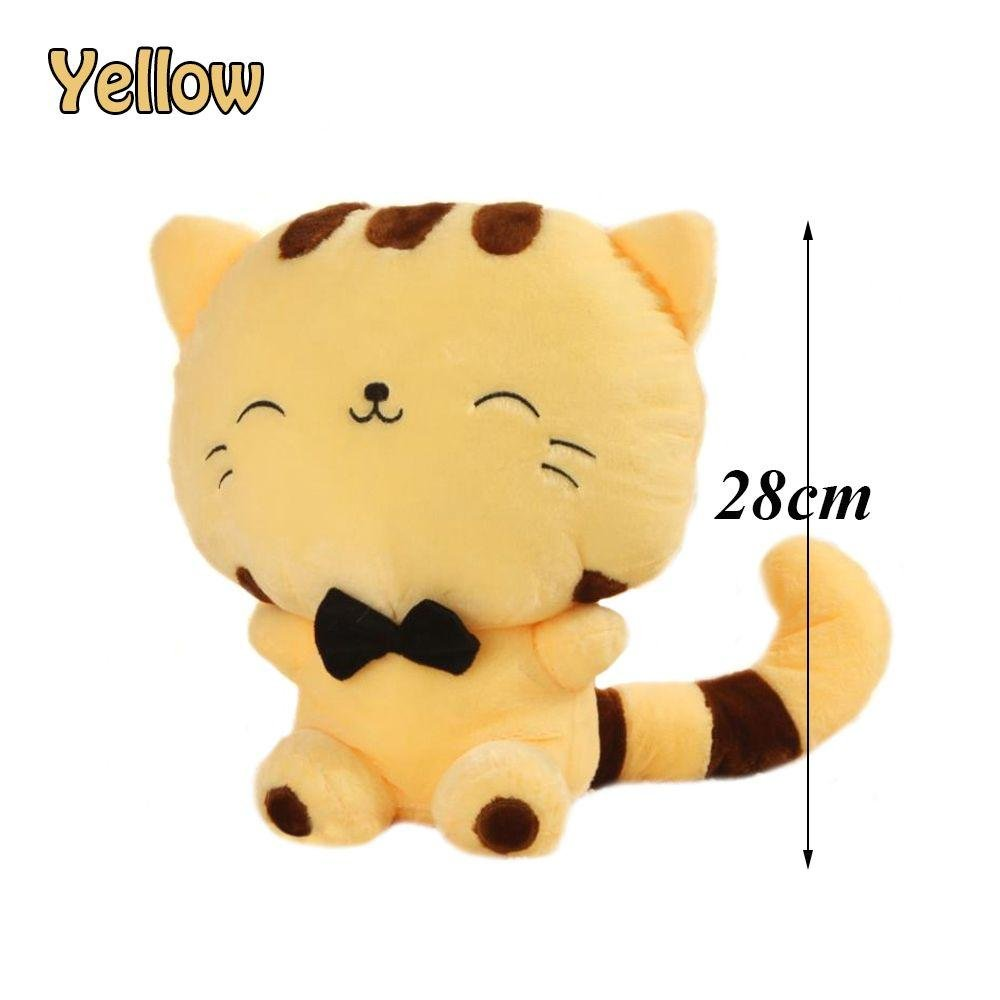 Unmengii Simulation Kids Gift Kitty Tail Sofa Pillow Smile Fortune Cat Animal Dolls Plush Stuffed Toy