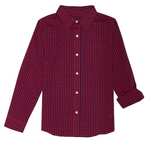 Dye Check Shirt - French Toast Big Boys' Long Sleeve Woven Yarn-Dye Shirt, Blue Red Check, 14