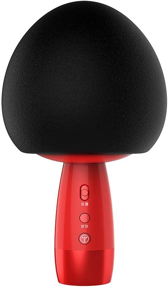 FYQF Micrófono de Mano inalámbrico Bluetooth, Seta Cabeza de micrófono estéreo Presente grabación Entretenimiento micrófono Integrado Muchacha del Cabrito Boy,Negro