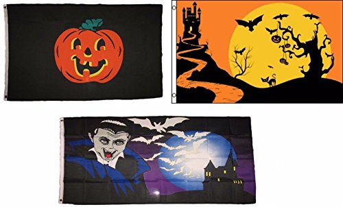 ALBATROS 3 ft x 5 ft Happy Halloween 3 Pack Flag Set #205 Combo Banner Grommets for Home and Parades, Official Party, All Weather Indoors Outdoors