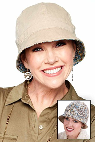 - Cardani 100% Cotton Reversible Bucket Hat | 2 Hats in One Neutral Paisley | Solid Khaki Reverse