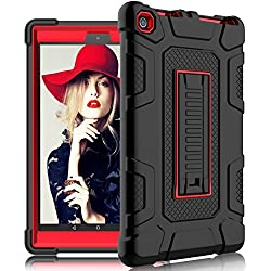 DONWELL Fire 8 2017 Case New Hybrid Shockproof Defender Protective Armor Cover with Kickstand for Amazon Kindle Fire 8 2017 / All-New Amazon Fire HD 8 (Black / Red)