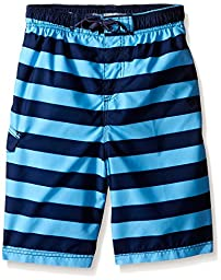 Kanu Surf Big Boys Troy Stripe Swim Trunks Navy/Blue 10/12