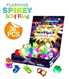 36 Pack Flashing Led Bumpy Rubber Rings for Party Favors Jelly Bubble Light Up Finger Toy