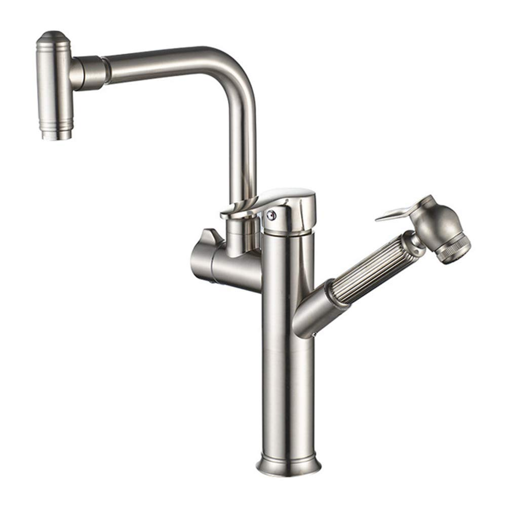 GMACCE Faucet, brushed sink, water can be pulled, redatable faucet, double-headed faucet, suitable for kitchen, bathroom, sink