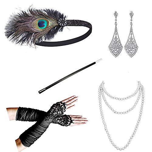 1920s Accessories Headband Necklace Gloves Cigarette Holder Flapper Costume Accessories Set for Women(ag) -
