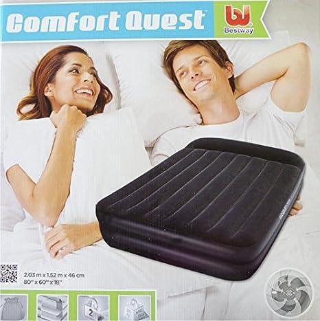 Colchón inflable Bestway 191 x 97 x 46 cm terciopelo colchón hinchable con bomba de aire integrada: Amazon.es: Hogar