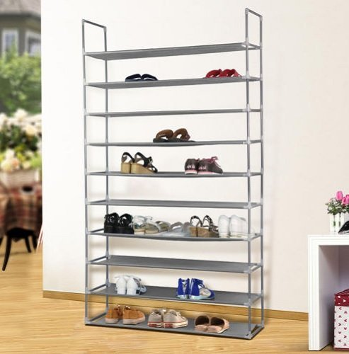 10 Tier 50 Pair Space Saving Storage Organizer Free Standing Shoe Tower Rack Slim Cover Non Slip Shelves