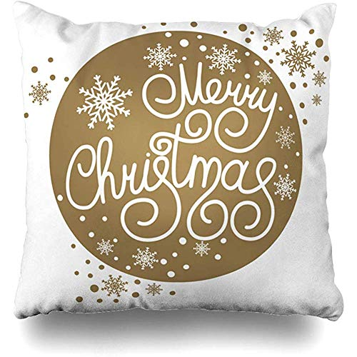 - Throw Pillow Cover Ornamental Year Merry Christmas Holidays Ball Brightness Celebration Circle Design Home Decor Pillow Case Square Size 18 x 18 Inches Zippered Pillowcase