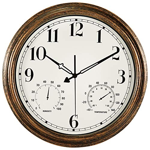 16 Inch Large Outdoor Wall Clock,Waterproof Vintage Non-Ticking Clock with Thermometer and Hygrometer Combo,Battery Operated Clock Wall Decorative- Bronze (Clocks Thermometer)