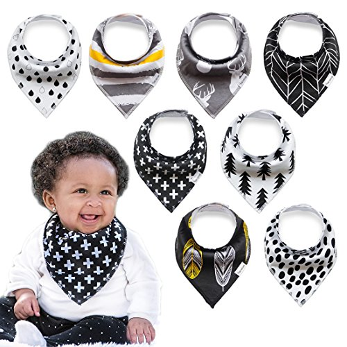 Bandana Drool Bib 100% Organic Cotton by Planet Earth Baby - Super Absorbent Drooling & Teething Bibs for Newborns & Toddlers - Set of 8 Cute Unisex Designs (Modern (Design A Bandana)