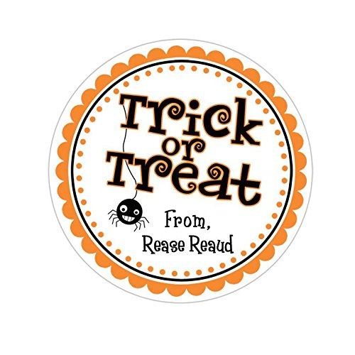 Personalized Customized Halloween Party Favor Thank You Stickers - Trick or Treat - Round Labels - Choose Your (Personalized Halloween Invitations)